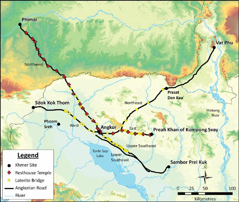 學者 Mitch Hendrickson 根據古代碑文所描繪出的帝國道路圖